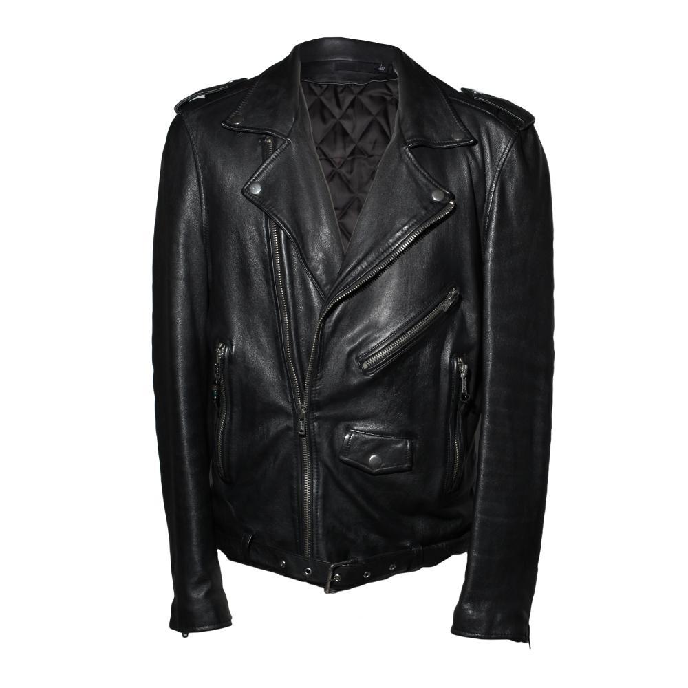 Blk Dnm Size Large Black Leather Moto Jacket