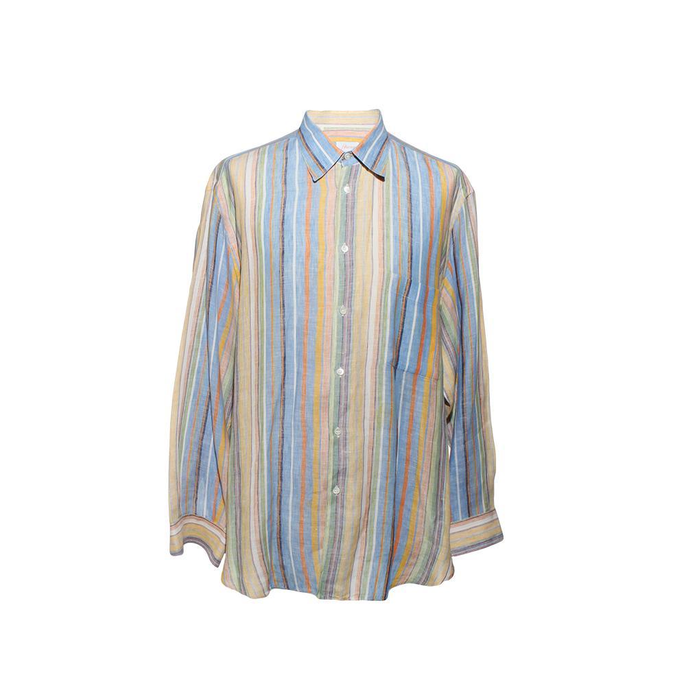 Brioni Size Xl Long Sleeve Linen Button- Up