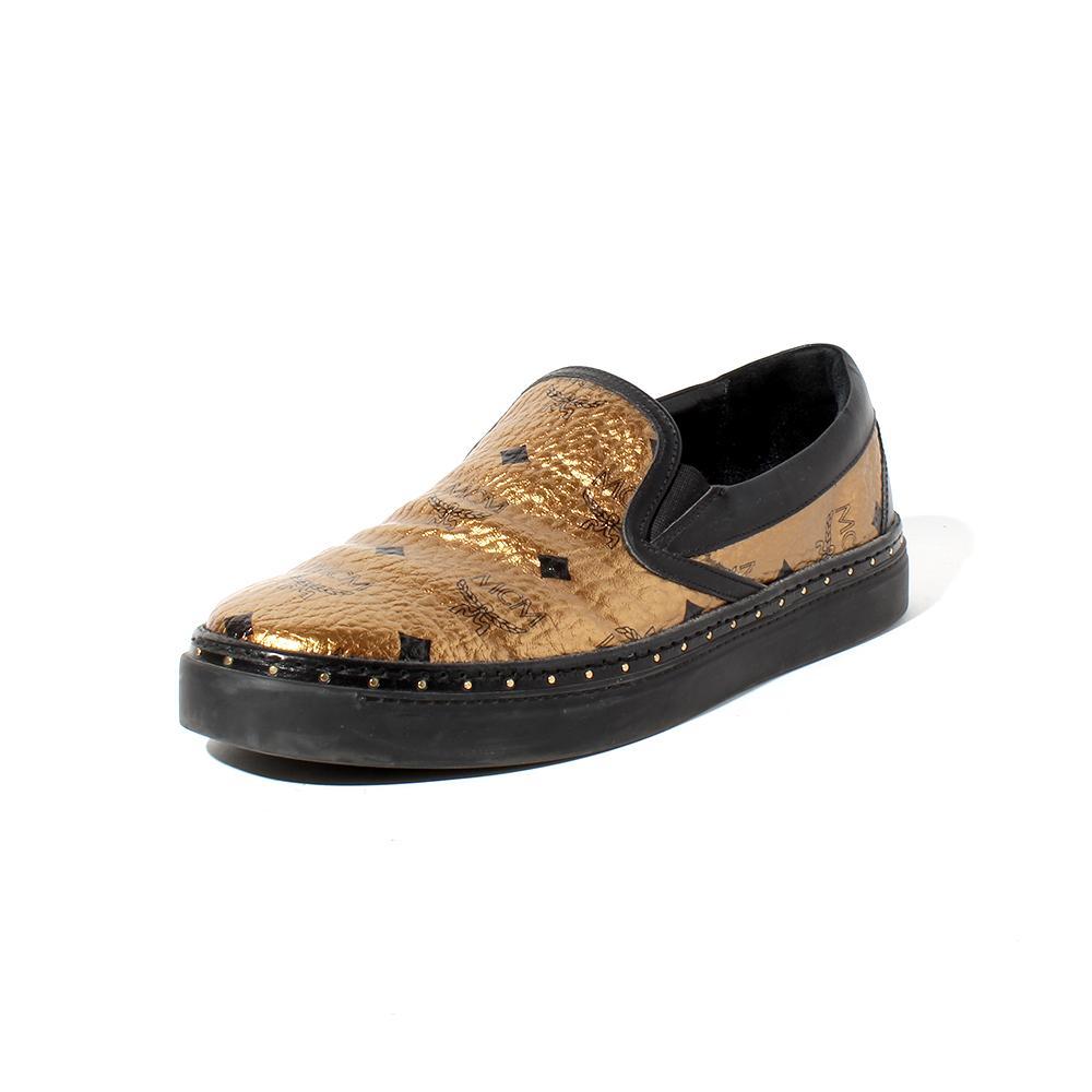 Mcm Size 9 Visetos Gold Slip- On Sneaker