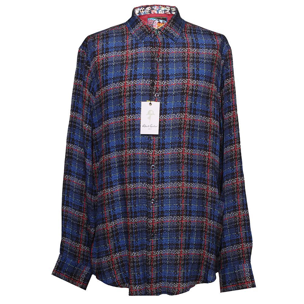 Robert Graham Size Large Silk Plaid Shirt