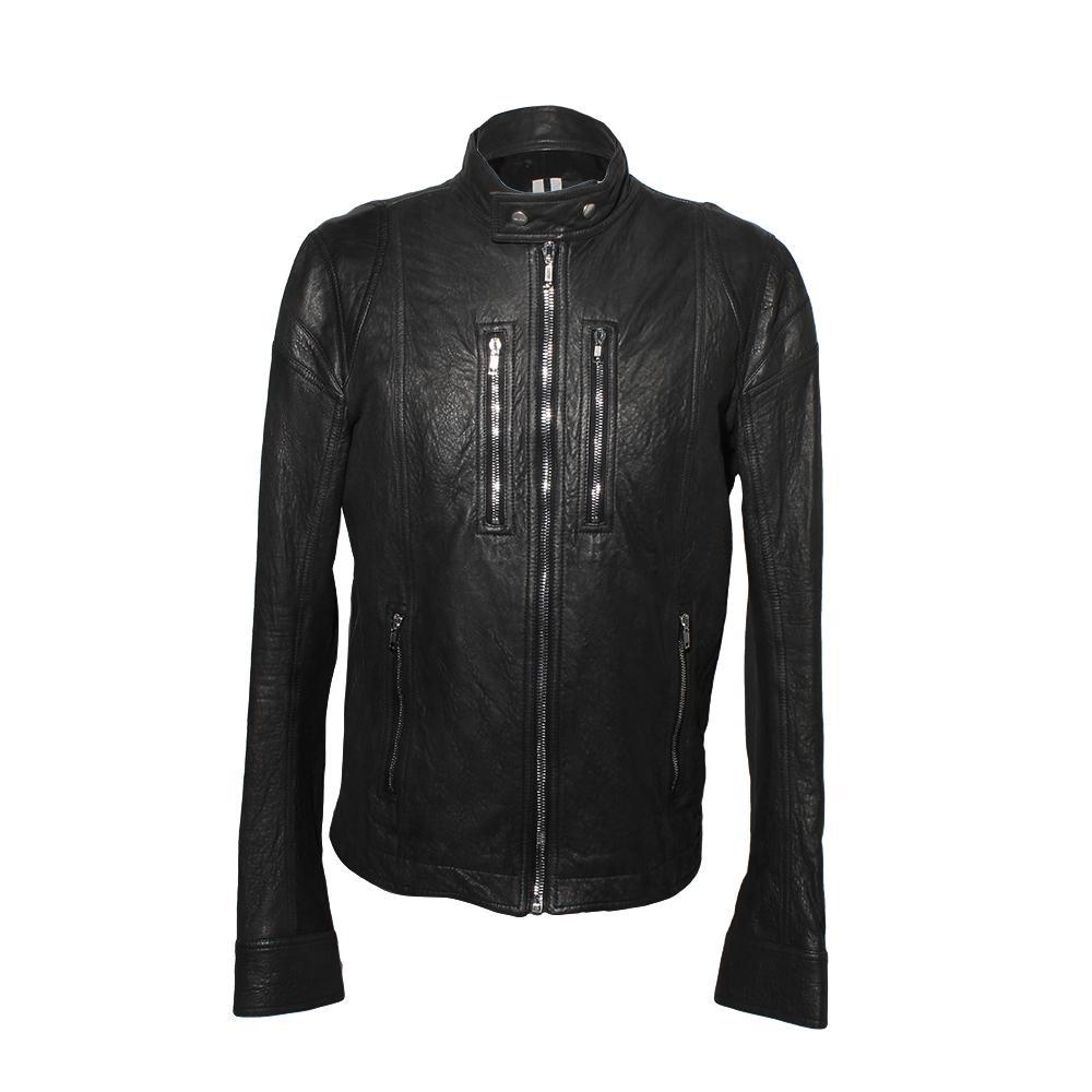 Rick Owens Black Tecuatl 2020 Size 38 Leather Jacket
