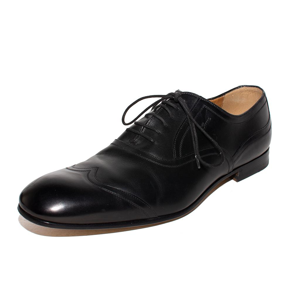 Gucci Size 9.5 Black Oxford Wingtip Shoes