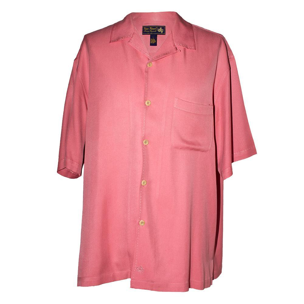 Nat Nast Size L Pink Silk Short Sleeve Shirt
