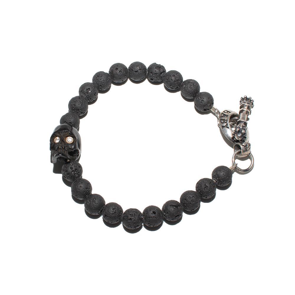 King Baby Black Skull Lava Bead Toggle Bracelet