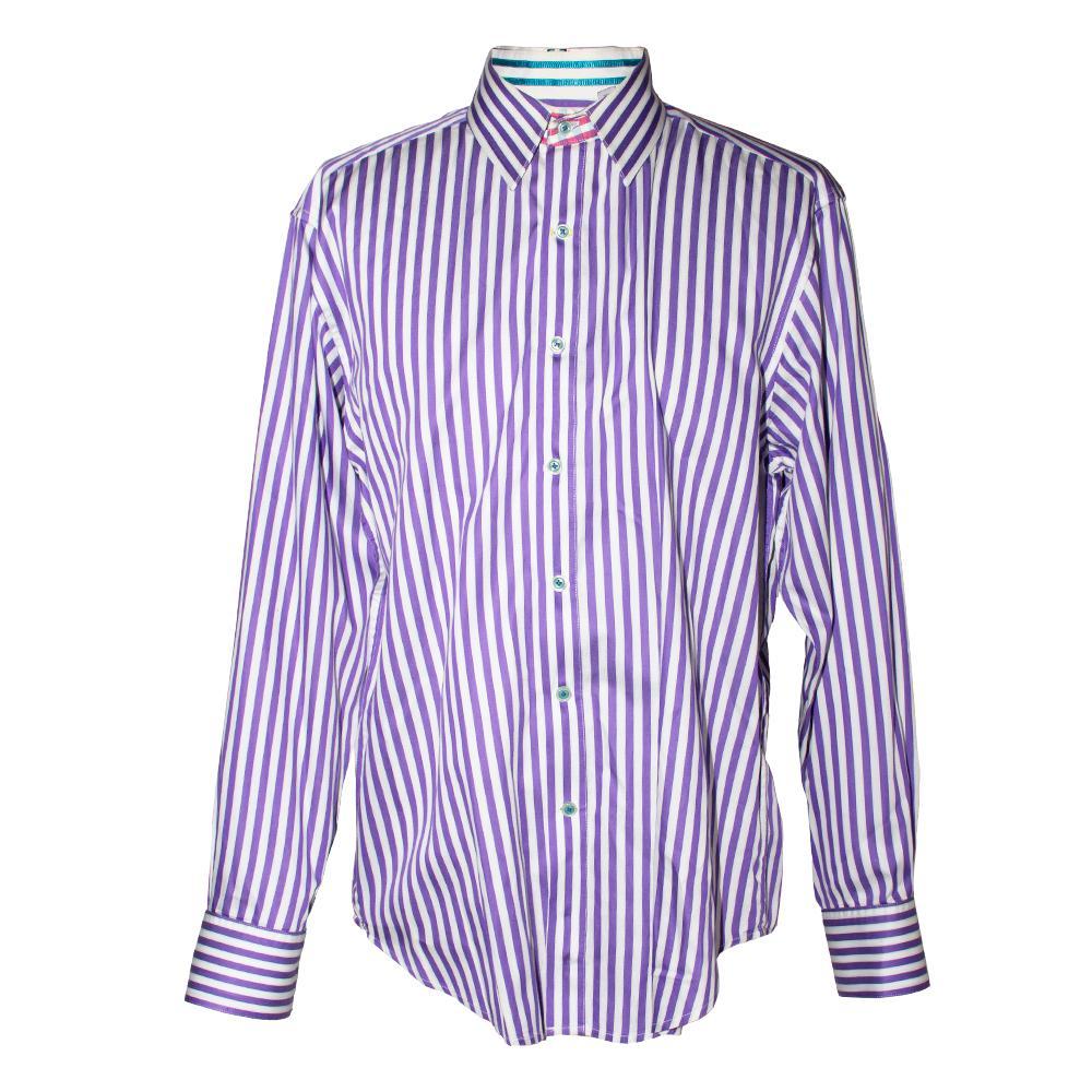 Robert Graham Size L Purple Striped Shirt