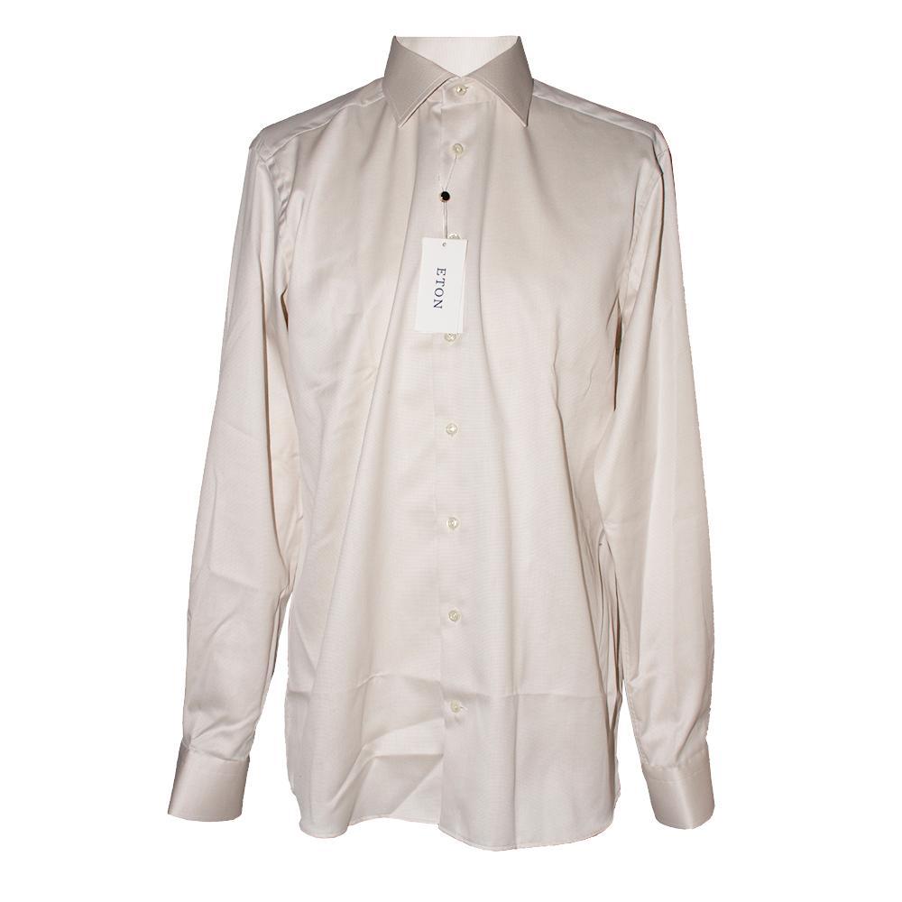 Eton Size 16 Off- White Long Sleeve Shirt