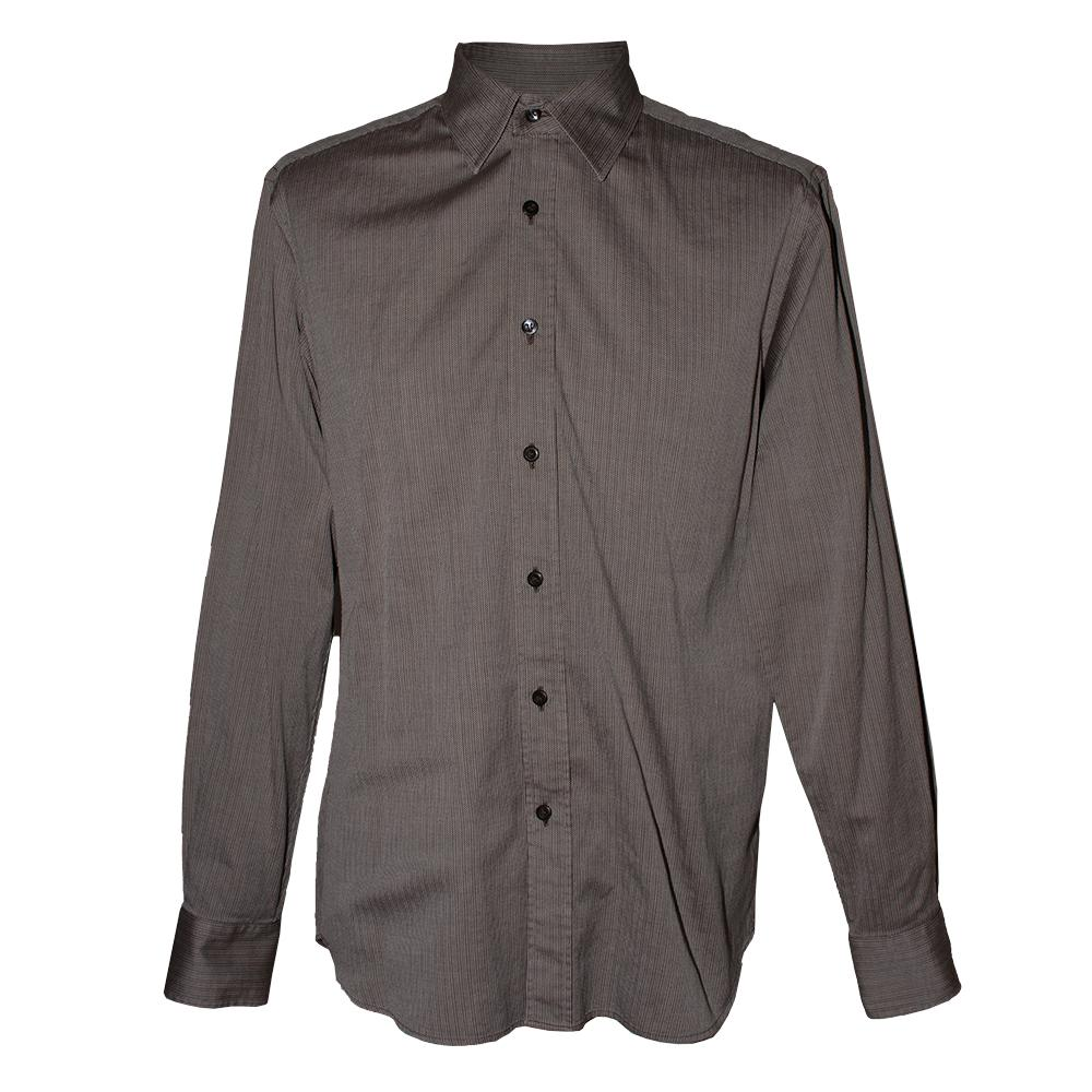 Prada Size 15.5 Grey Long Sleeve Shirt