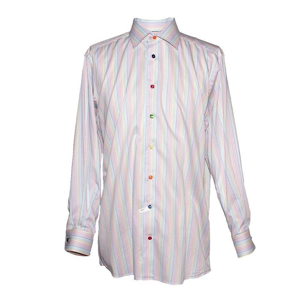Eton Size 17 Contemporary Rainbow Dress Shirt