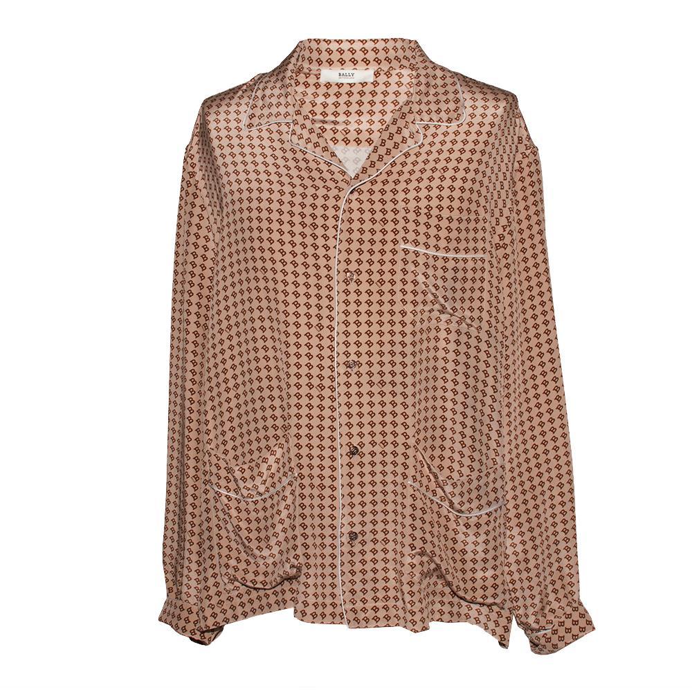 Bally Size 48 Silk Long Sleeve Shirt