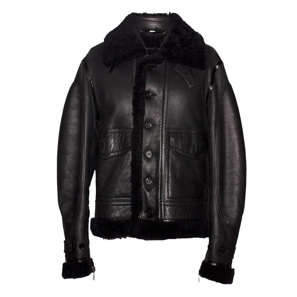 Burberry Size 54 Black Shearling Jacket