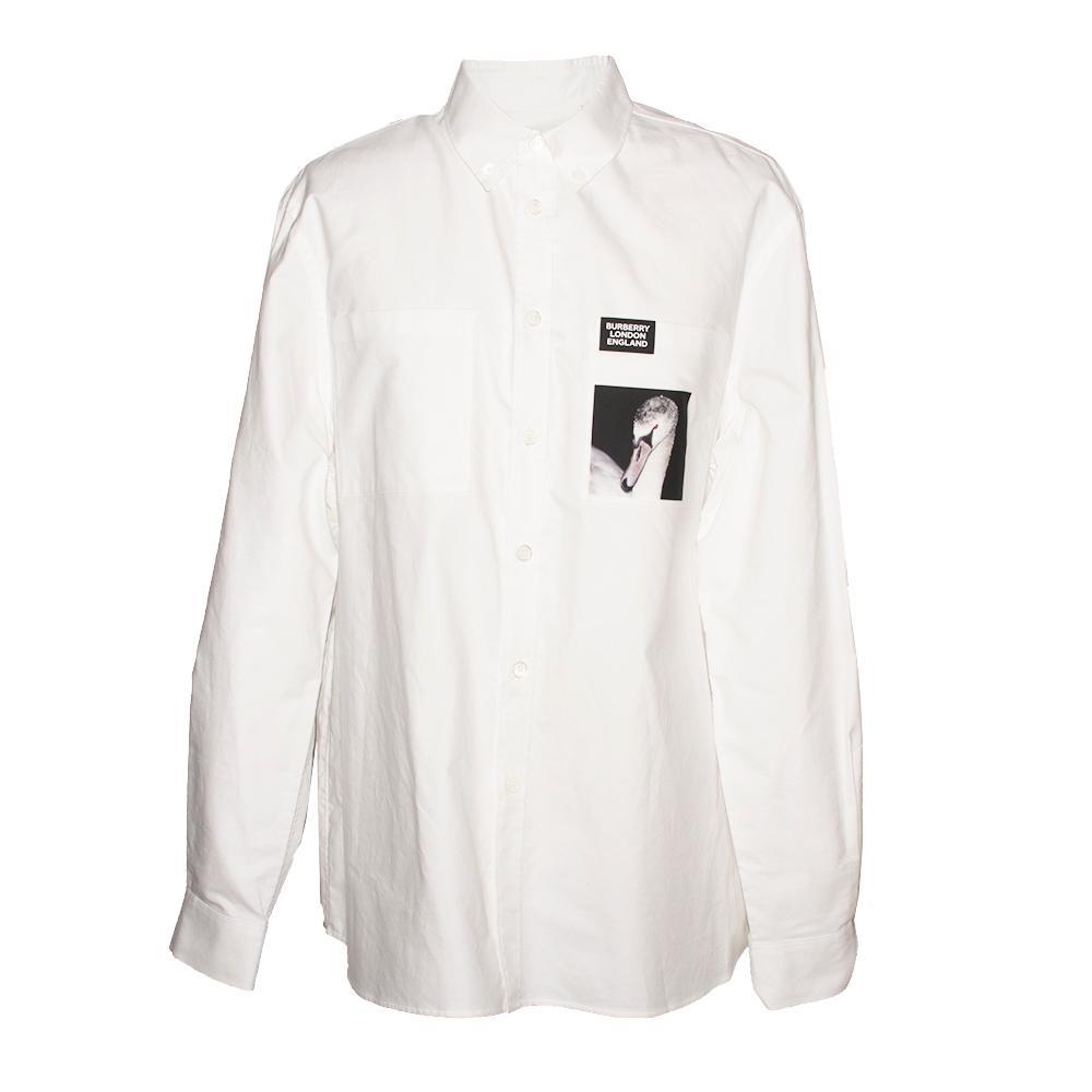 Burberry Size Xl White Long Sleeve Shirt