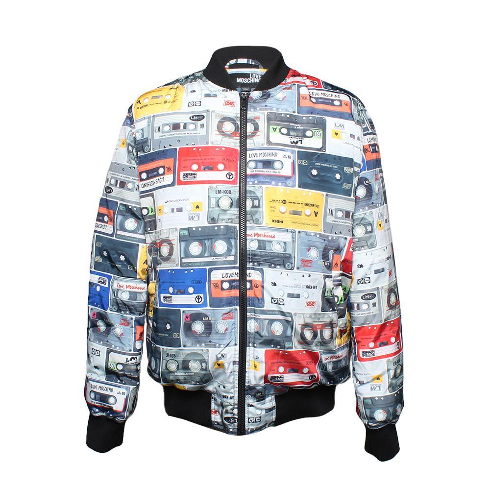 Moschino Size 48 Love Cassette Bomber Jacket