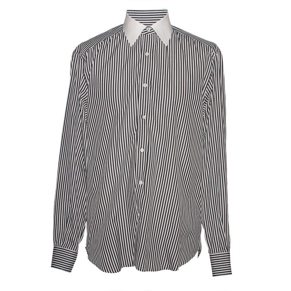 Stefano Ricci Size 16 Striped Long Sleeve Shirt