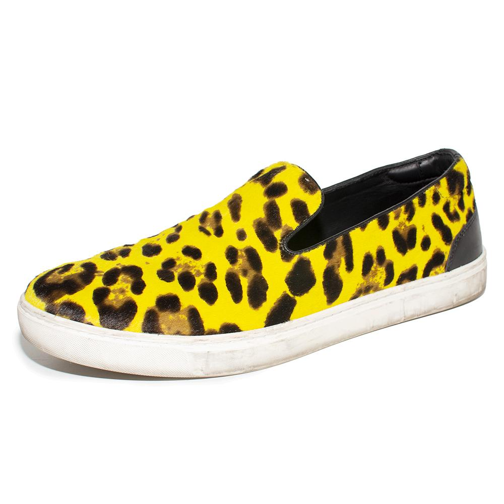 Dolce & Gabbana Size 10 Leopard Print Calf Hair Slip- Ons