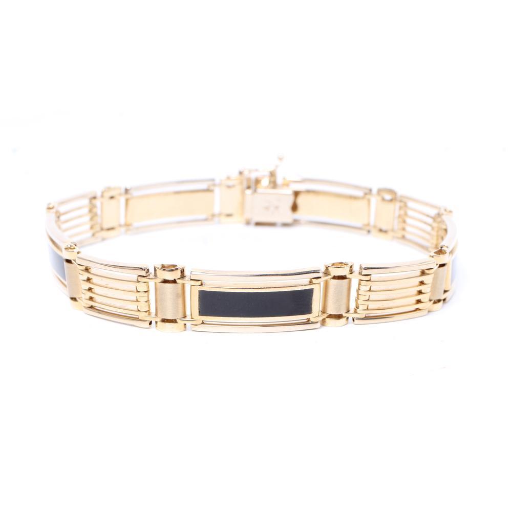 A1 14k Yellow Gold & Onyx Bracelet
