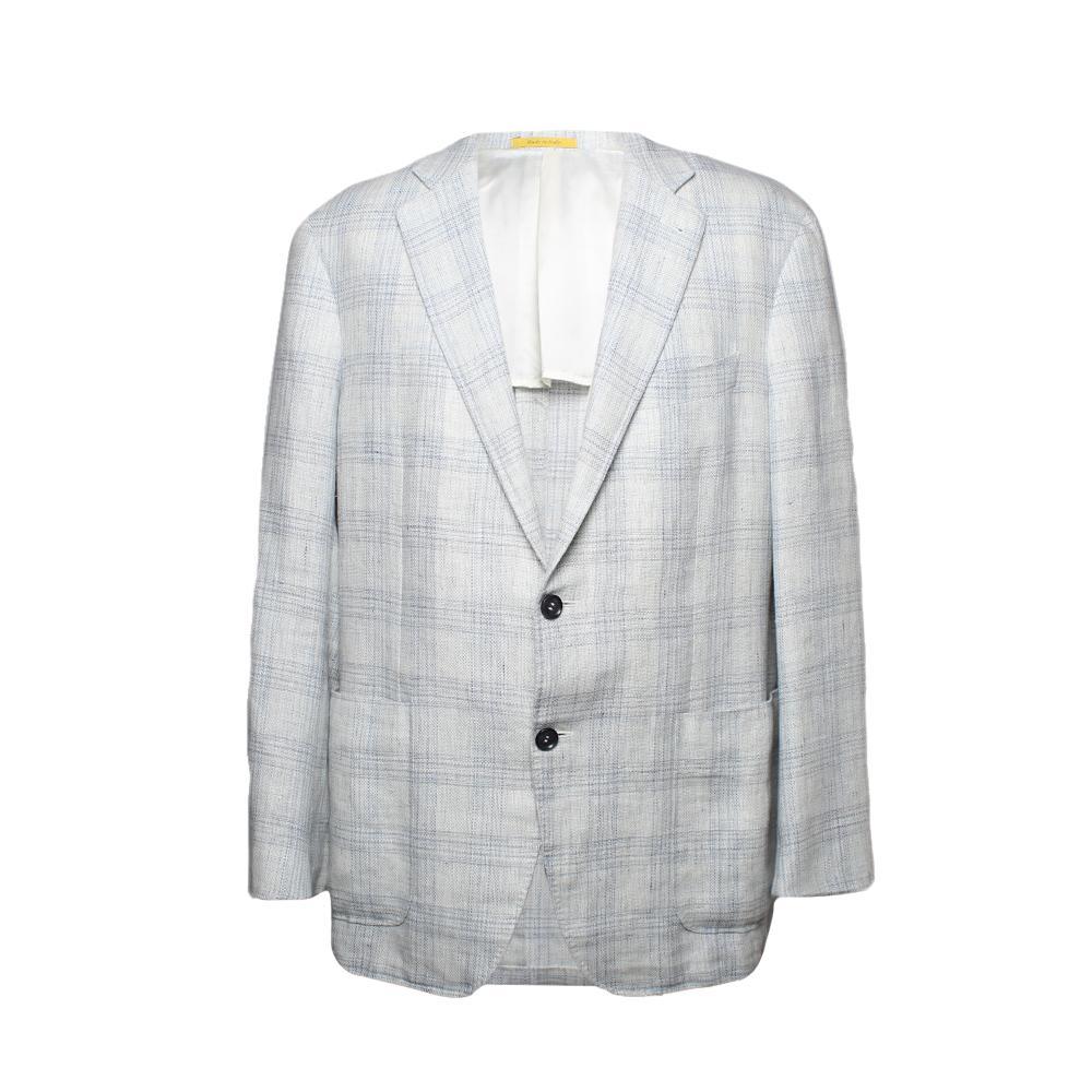 Canali Size 46 White Plaid Sport Coat