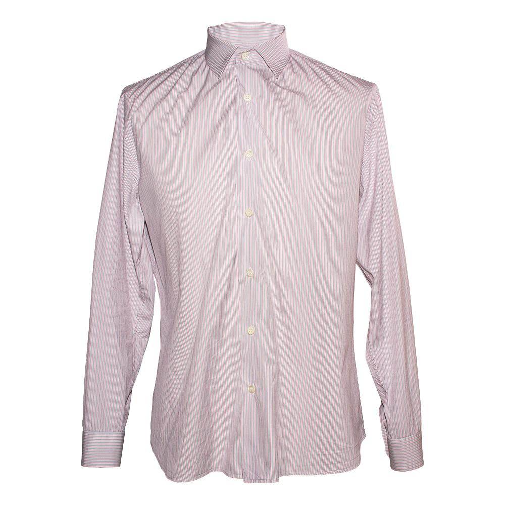 Prada Size 15.5 Pink Striped Long Sleeve Shirt