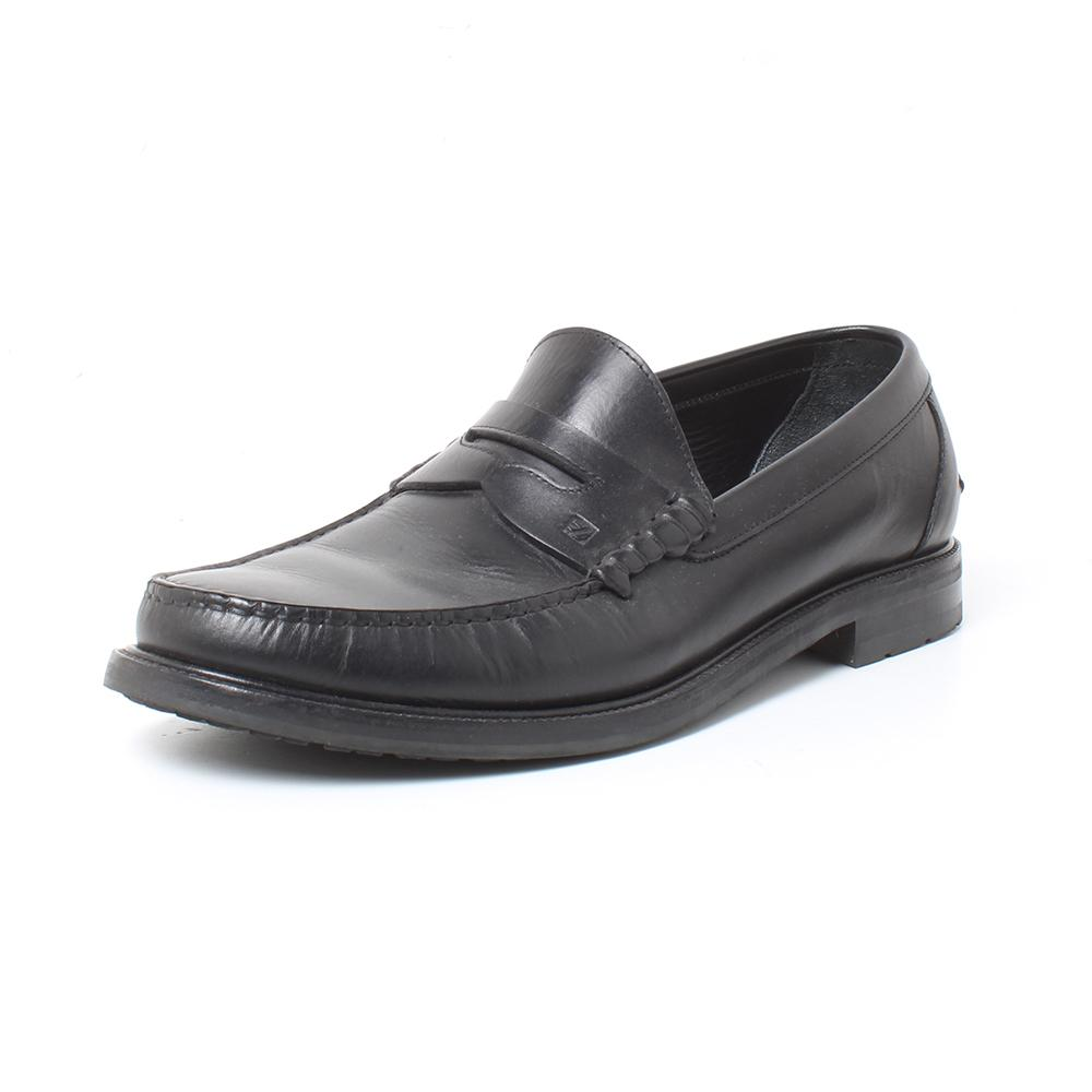 Ermenegildo Zegna Size 11.5 Black Leather Loafers