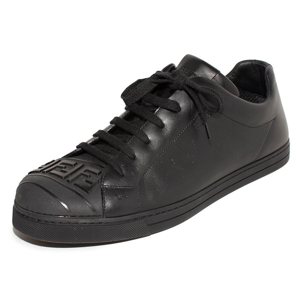 Fendi Size 10 Black Leather Sneakers