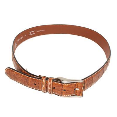 Tommy Bahama Size 40 Brown Genuine Crocodile Leather Belt