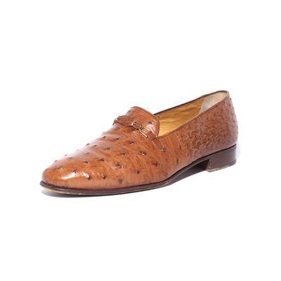Manzini Size 8.5 Brown Ostrich Shoes