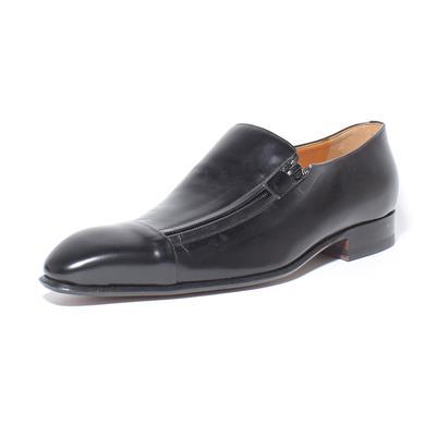 Battaglia Size 7 Black Leather Loafers with Zipper