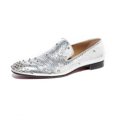 Christian Louboutin Size 46 Metallic Silver Spike Loafers
