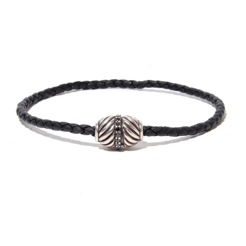 David Yurman Black Cord Bracelet With Sterling Silver And Diamond Caps
