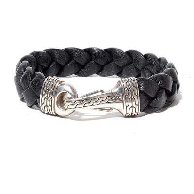 John Hardy Braided Black Leather Bracelet