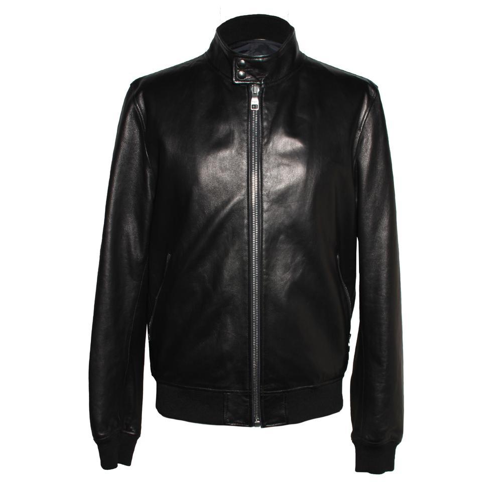 Salvatore Ferragamo Size 50 Black Reversible Leather Jacket