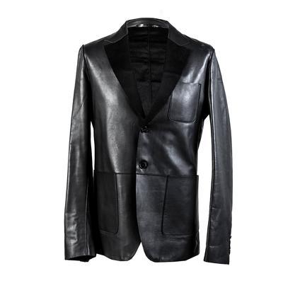 Valentino Size 36 Black Leather Blazer