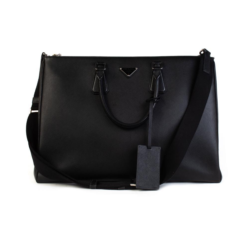 Prada Black Leather Tote Briefcase