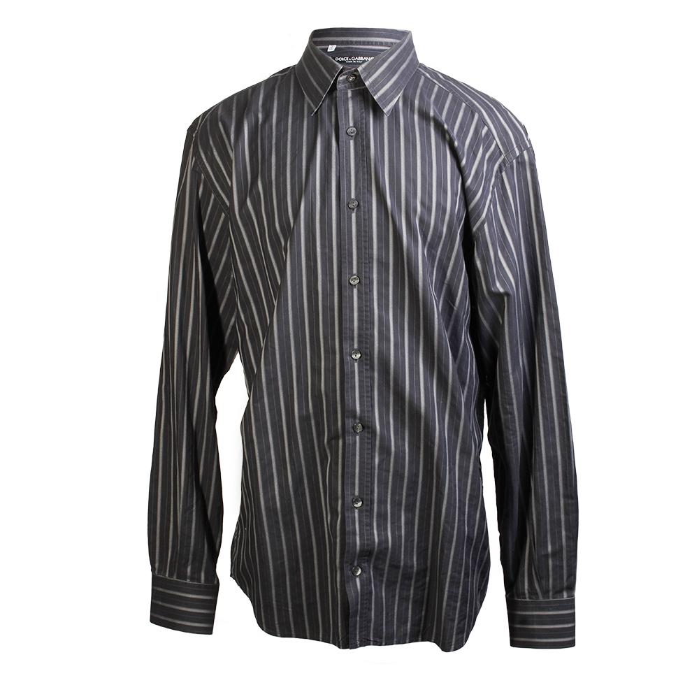 Dolce And Gabbana Size 18- 18.5 Striped Dress Shirt