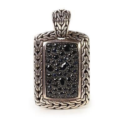 John Hardy Sterling Silver Lava Fire Black Sapphire Pendant