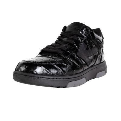 Off White Size 11 Black Embossed Crocodile Sneaker