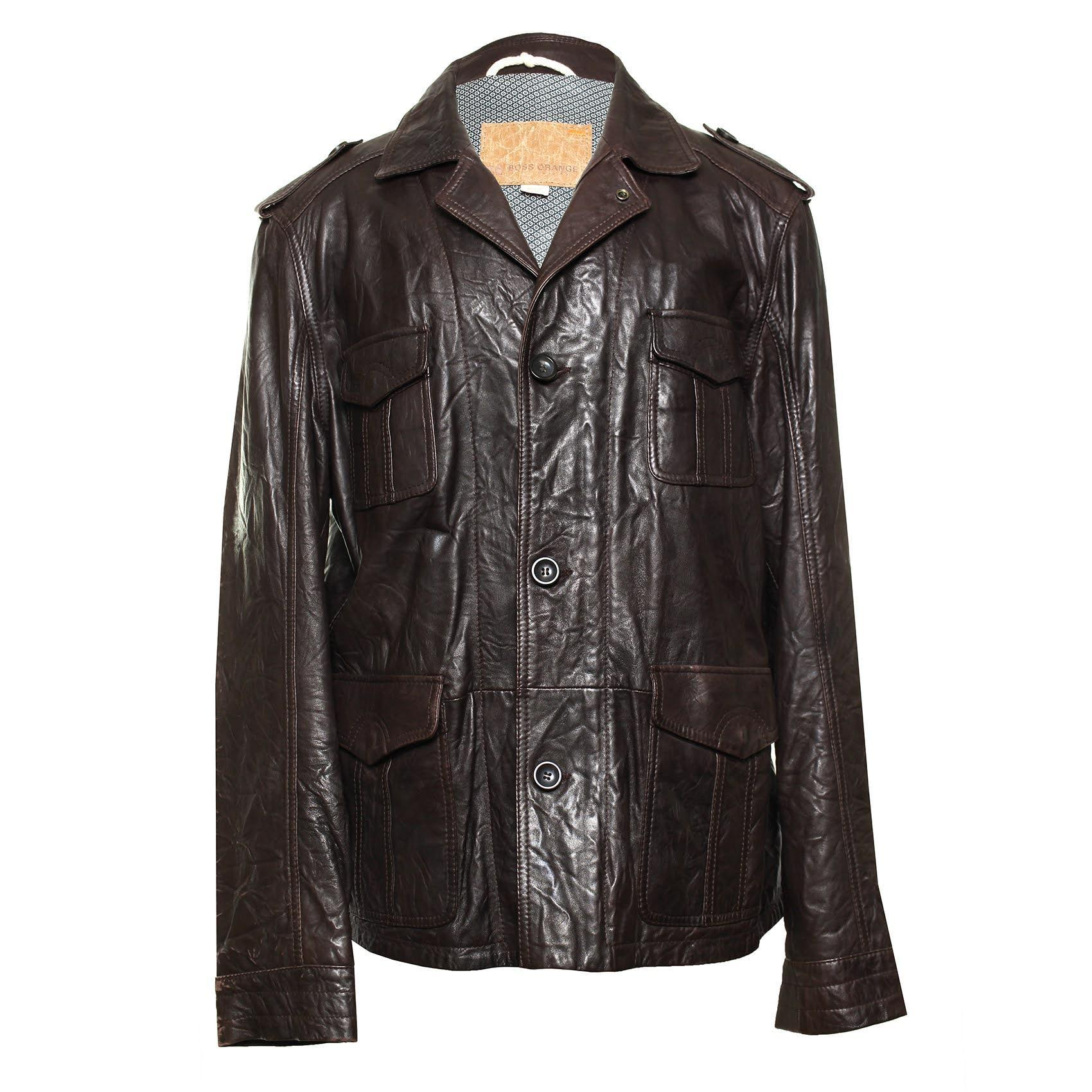 Hugo Boss Orange Size 46 Brown Leather Jacket