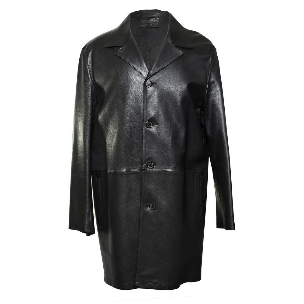 Prada Size 54 Black Leather Coat