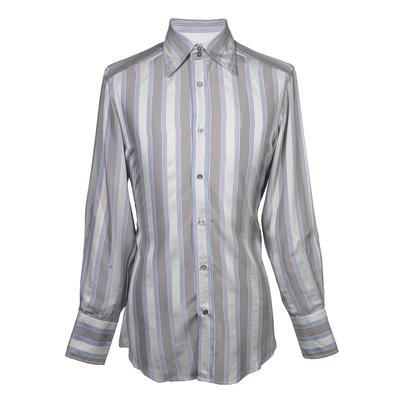 Gucci Size Medium Striped Silk Long Sleeve Button Down Shirt