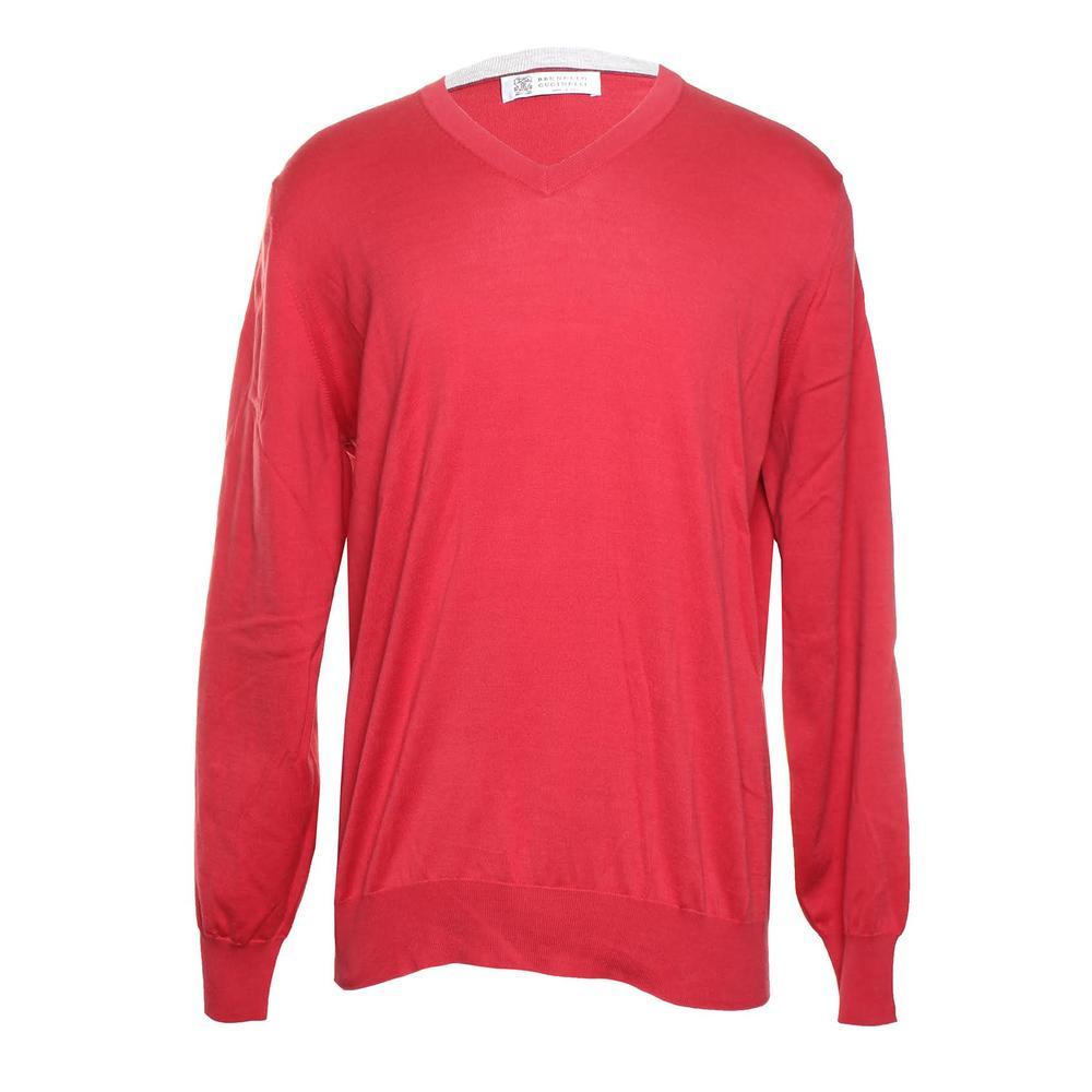 Brunello Cucinelli Size 52 Red Crewneck Sweater